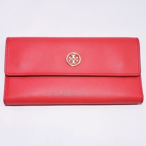 Tory Burch Robinson Trifold Wallet in Red